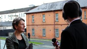 Director of Tate Britain Penelope Curtis being interviewed by David and Eoghan from St Columb's College.