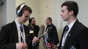 Eoghan (left) and David preparing for interviews.