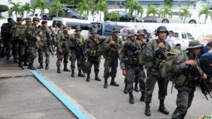Troops prepare to leave Manila for Tacloban. 10 Nov 2013