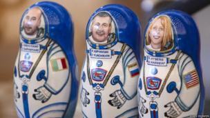 Russian dolls with astronauts face on them