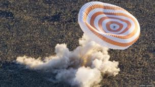 Soyuz rocket landing using a parachute