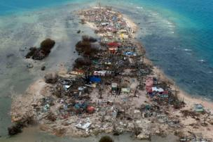An aerial view of a coastal town, devastated by super Typhoon Haiyan, in Samar province