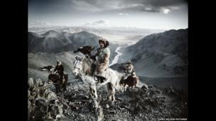 Kazakh eagle-hunters, Mongolia