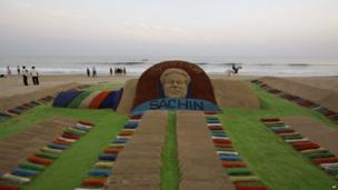 A sand sculpture of Tendulkar on a beach in the eastern city of Puri, 13 November 2013