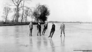 Skating on the the Thames at Port Meadow in 1890