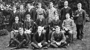 T E Lawrence with teachers and fellow pupils at Oxford High School for Boys