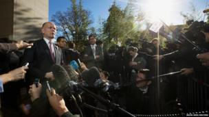 British Foreign Secretary William Hague speaks to the press following his meeting with U.S. Secretary of State John Kerry at the Iran nuclear talks in Geneva.