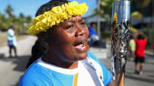 The baton travelled around the entire island of Nauru during the welcome party.