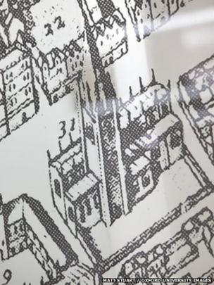 Close-up of printed ancient map of Oxford, UK