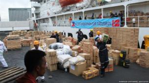 Aid ship. Photo: Norwegian Shipowners' Association