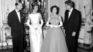 From left to right: Duke of Edinburgh, Jackie Kennedy, Queen Elizabeth II and John F Kennedy in London