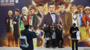 Fans pose in front of the 11 Doctors