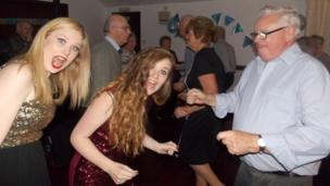 Hollie and Gina with grandad Ian