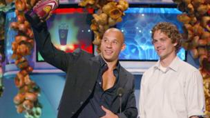 Walker and Diesel at the MTV Movie Awards in 2002