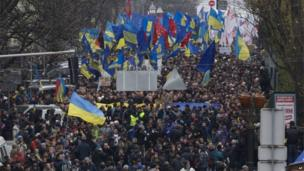 Thousands of Ukrainians march to Independence square in Kiev,