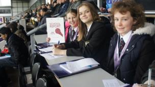 School Reporters in the press box