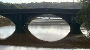 Caerleon Bridge and boats on the River Usk