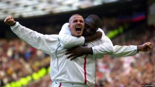 David Beckham scores against Greece