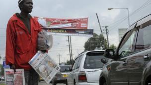Newspaper seller in the Kenyan capital Nairobi