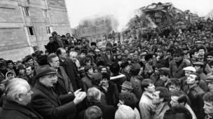 A picture taken on December 10, 1988 in Leninakan, Soviet Armenia shows General Secretary of the Communist Party of the Soviet Union Mikhail Gorbachev addressing the people of the city severely stricken by the earthquake.