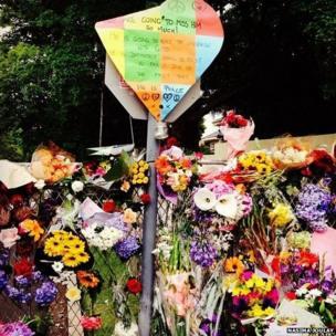 Flowers outside Mr Mandela's home. Photo: Nasima Joulay