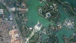 Satellite image of Shiyuan Park in China