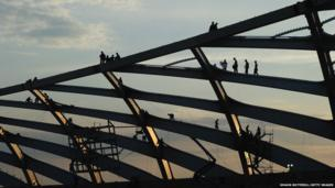 Construction continues at the Arena Amazonia stadium