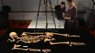 Dr Jo Appleby working on the remains of King Richard III