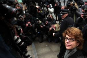 Vicky Pryce arrives at Southwark Crown Court in London, where she will be sentenced for perverting the course of justice.