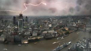 A lightning strike as seen from The View at the Shard in London, July 2013