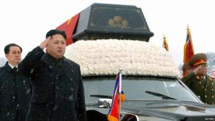 Kim Jong-un (2nd L) salutes as he and Chang Song-thaek (L) accompany the hearse carrying the coffin of late leader Kim Jong-il during his funeral procession in Pyongyang on 28 December 2011