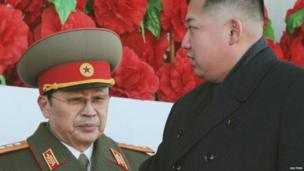 North Korean leader Kim Jong-un (R), flanked by his uncle North Korean Chang Song-thaek, leaves a military parade to mark the birth anniversary of the North's late leader Kim Jong-il in Pyongyang on 16 February 2012