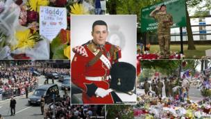 Soldier Lee Rigby surrounded by images from his funeral and public tributes