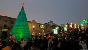 Christmas tree made of plastic bottles