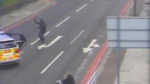 CCTV footage showing Michael Adebolajo running at police before he was shot.