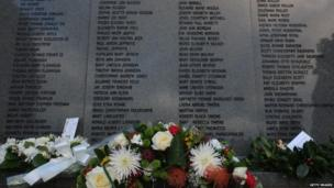 Stone wall in which all 270 victims of the Lockerbie bombing are named