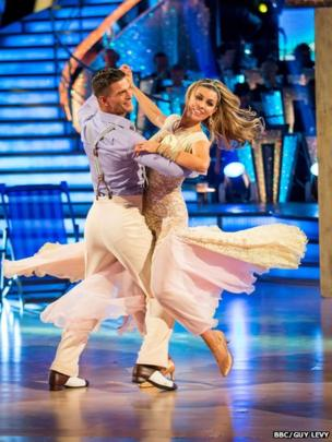 Abbey Clancy and partner Aljaz Skorjanec in the Strictly final