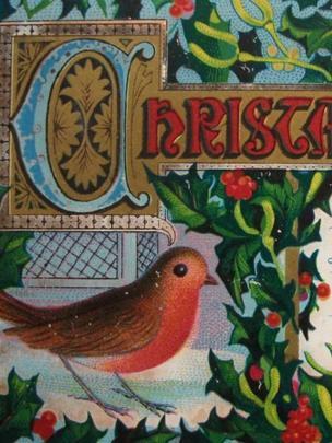 Robin on a card, c 1880s