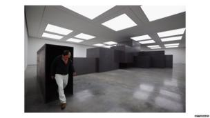 Sir Antony Gormley with 2012 work Model at London's White Cube Gallery