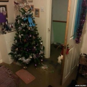 Christmas tree in flooded house.