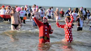 Boxing Day dip at Prestwick beach