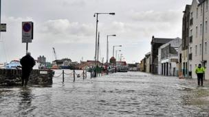 Flooding in Ramsey during the high tide on the Isle of Man