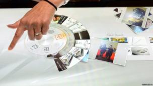 Cassidy Lammers of Lenovo demonstrates the company's new Horizon 2