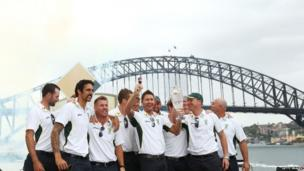 The Australian Ashes team pose during the Australian Ashes team celebrations at Sydney Opera House on 7 January 2014 in Sydney, Australia
