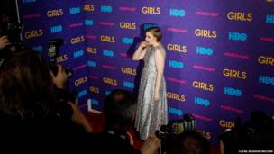 Lena Dunham arrives for the premiere of the third season of the show Girls
