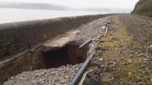 Hole along railway in Carmarthenshire