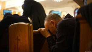 Coptic Christians praying in New York, 06 January, 2014