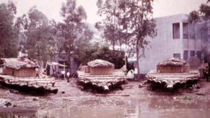 Three rafts on land