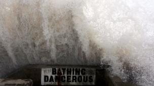 Portcawl 'bathing dangerous' sign