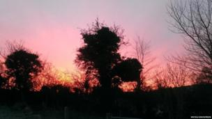 The skies were also pink in County Armagh, as this picture by Nicola Kilpatrick shows.
